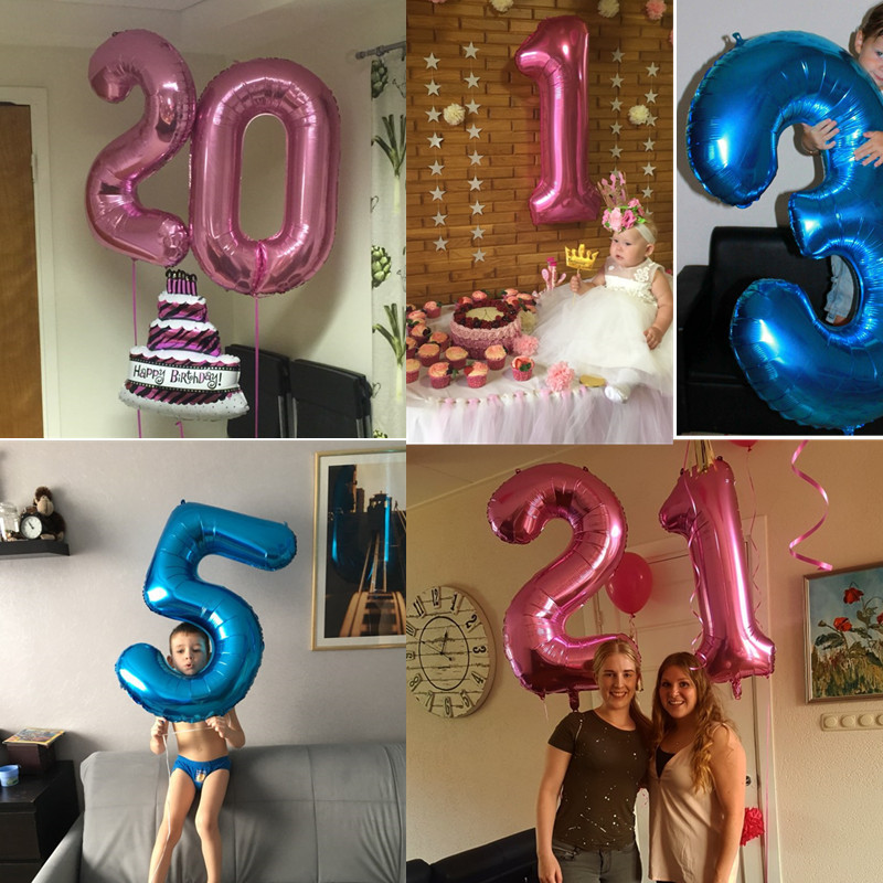 40 inch Multicolor Big Size Number Foil Helium Balloons For Birthday Party Celebration 2
