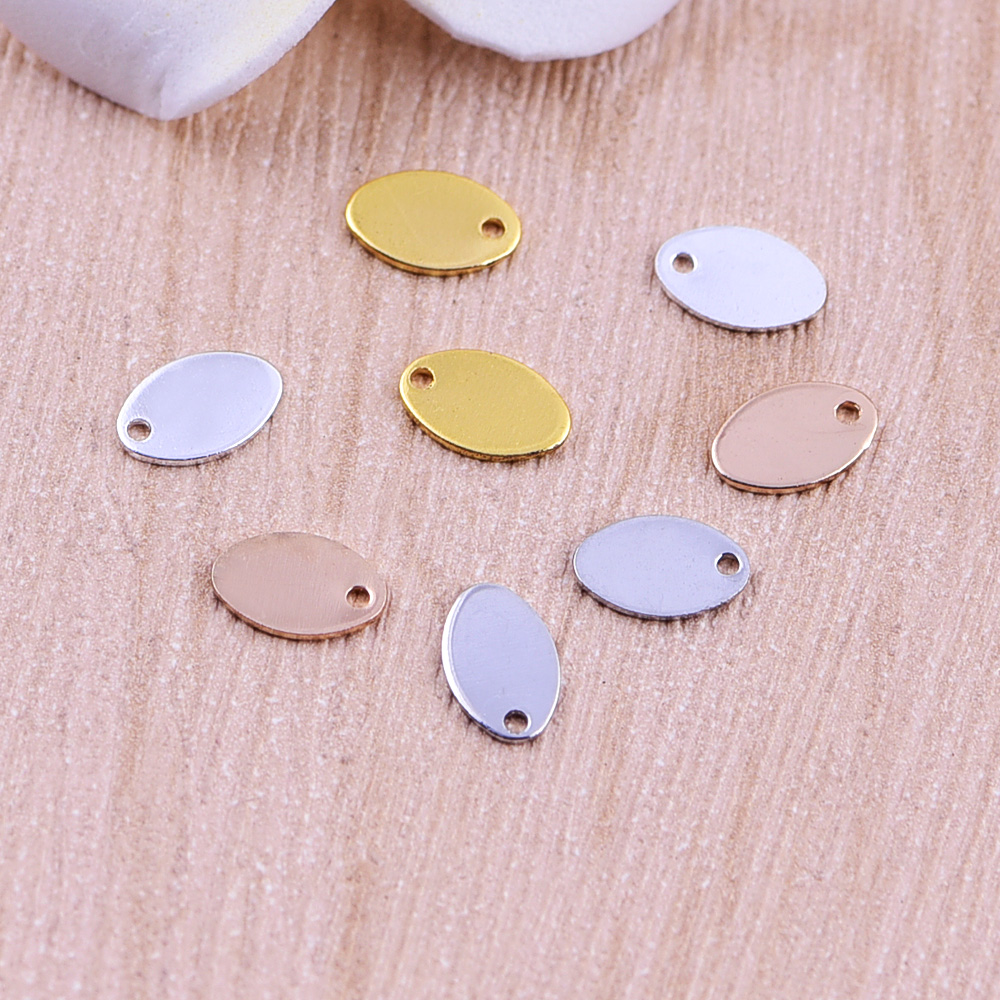 Free shipping goldSilver Tone Polished Smooth brass elliptical Necklace Pendant  For Man And Women, Fashion Gift Jewelry