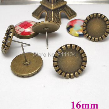 16mm Antique Bronze Plated Round Deep Wall Bezel Cups Blank Bases Cabochon Settings Earrings Stud Pins Findings Wholesale
