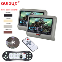 QUIDUX 2PCS 9 Inch DVD Player Car Headrest 800 X 480 LCD Backseat Monitor Full Functional