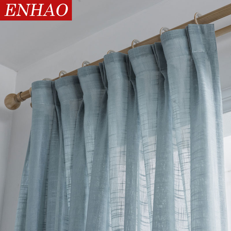 ENHAO Modern Tulle Curtains For Living Room The Bedroom Kitchen Tulle Curtains For Window Voile Curtains Sheer Panel Windows