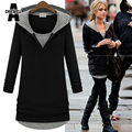 ACHIEWELL Plus Size 5XL Autumn Women Long Sweatshirt Hoodies Long Sleeve Patchwork Black Women Sweatshirts Tops for Winter