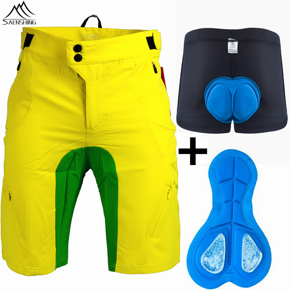 SAENSHING Downhill Mtb Shorts+Bike Underwear Gel Pad Cycling Shorts 2018 New Bicycle Culote Ciclismo Hombre Gel Bermuda Ciclismo
