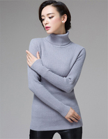 2015 Winter Warm Knitted Women Sweater Solid Turtleneck Long Sleeve Sexy Slim Women Sweaters And Pullovers