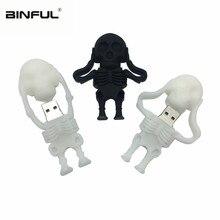 usb флэш-накопитель 128 ГБ, флеш-накопитель 32 ГБ, черный череп, скелет, флешка, 16 ГБ, 8 ГБ, 64 ГБ, usb 2,0, usb память, подарок на Рождество, Хэллоуин