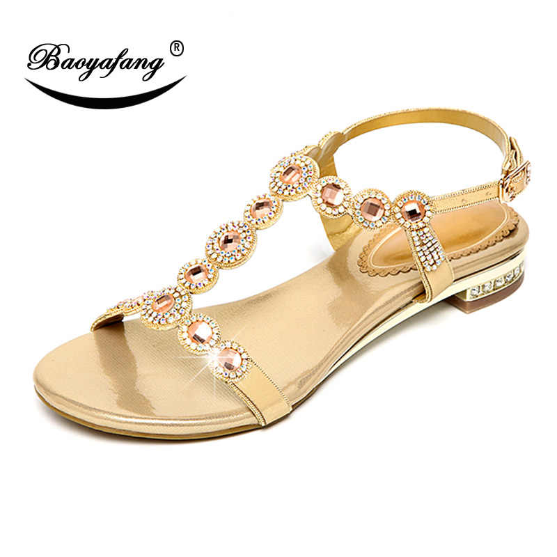 99f04040c2 BaoYaFang LOW Heel Golden Ladies Crystal Sandals FASHION Wedding shoes  Bride ankle strap Sandals party dress shoe