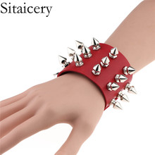 Sitaicery Unique Three Row Cuspidal Spikes Rivet Stud Wide Cuff Leather Punk Gothic Rock Unisex Bangle Bracelet Men jewelry