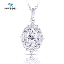 DovEggs Moissanite oval Sterling Solid 925 Silver 1.2ctw GH Color egg Shaped Pendant Necklaces For Women