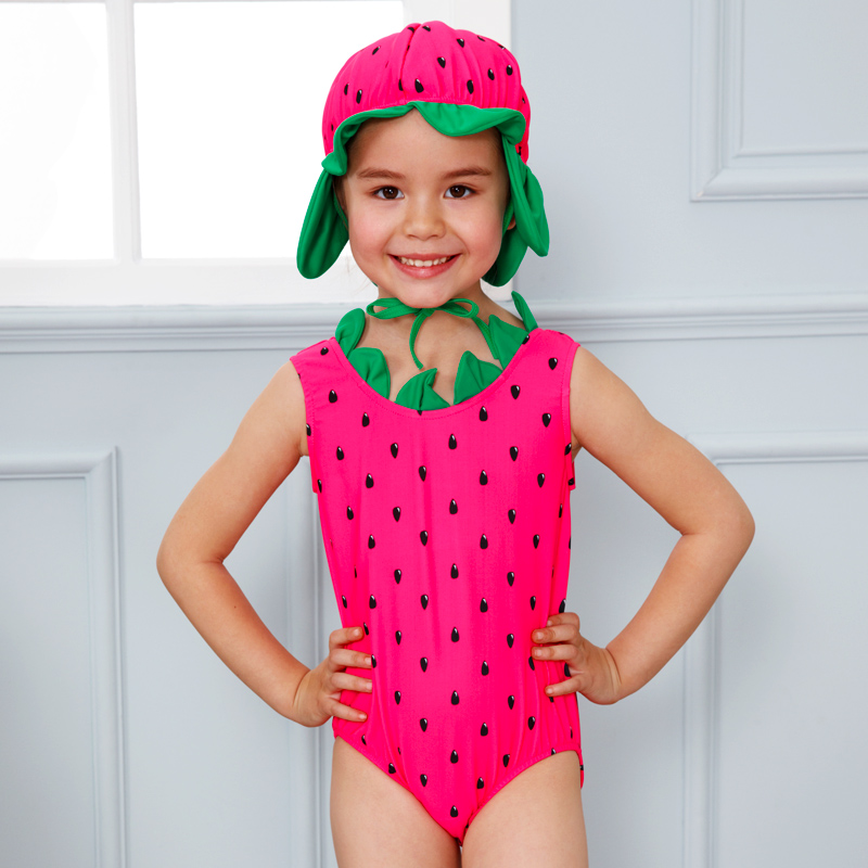 a59e93b5423f7 Girl One Piece Swimwear Baby Bathing Suit with a Cartoon Swimming cap Kids  Cute Watermelon Swimsuit for Girls about 2 7 Years-in Children's One-Piece  Suits ...