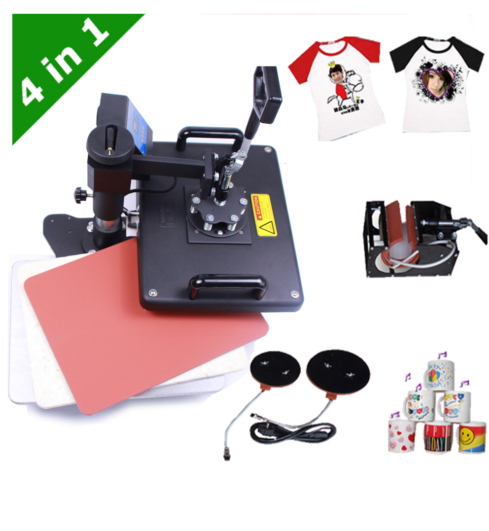 4 in 1 Sublimation Heat Press Machine for T shirt Mug Plate Hat printing machine DX