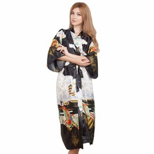 Сексуальное Новое винтажное женское кимоно, халат, длинная ночная рубашка с принтом, новинка, одежда для сна с v-образным вырезом, женская пижама, халат, один размер
