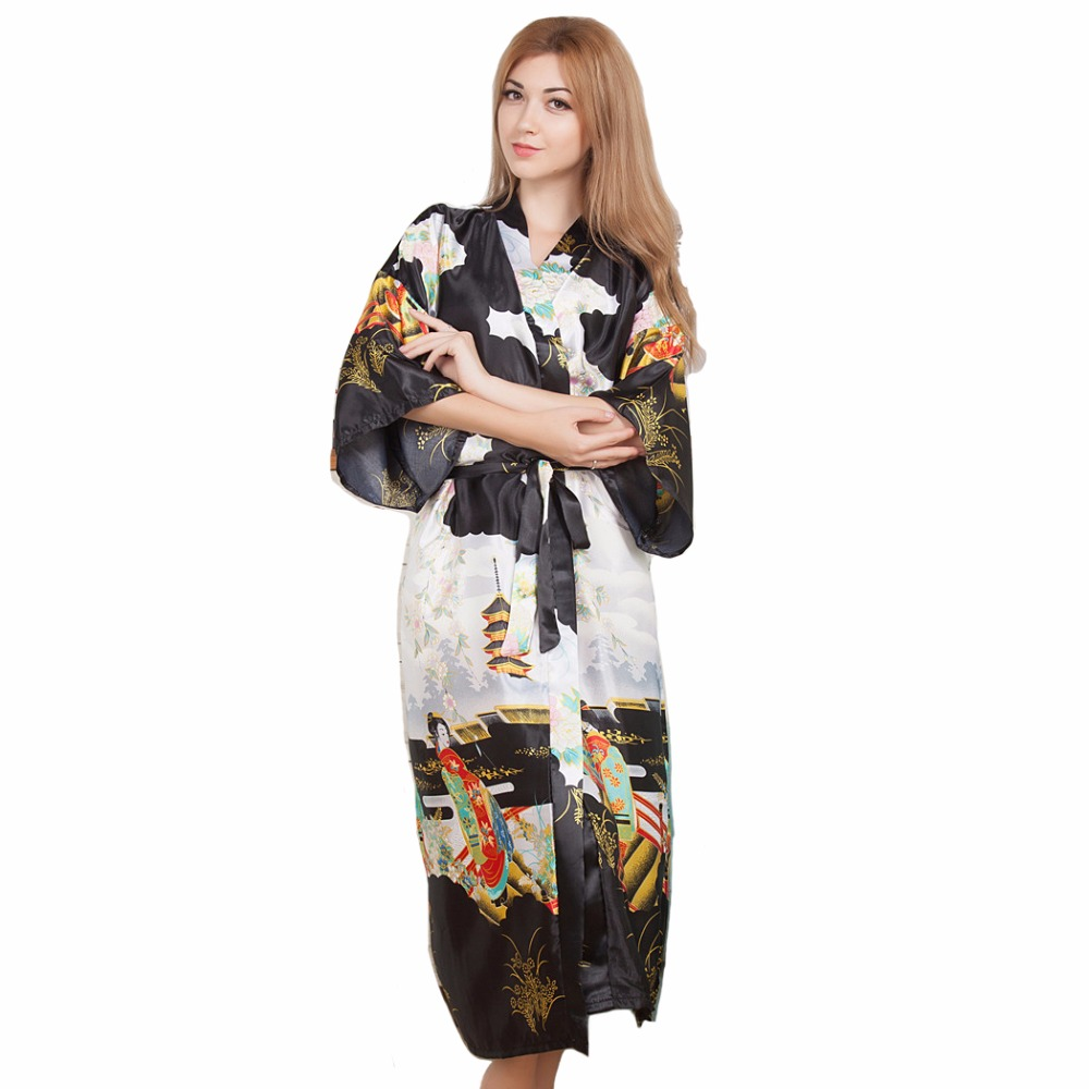 Sexy New Vintage Female Kimono Robe Long Print Nightgown Novelty Print Sleepwear V-Neck Mujer Pajamas Dressing Gown One Size