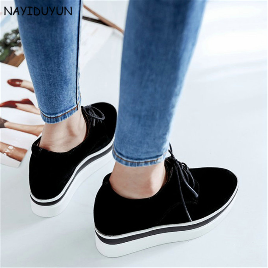 d6aa8ceffbd1 NAYIDUYUN Women Faux Suede Lace Up High Heel Fashion Party Pumps Hidden  Wedge Ankle Boots Casual Punk Sneaker Greepers Shoes-in Women s Pumps from  Shoes on ...