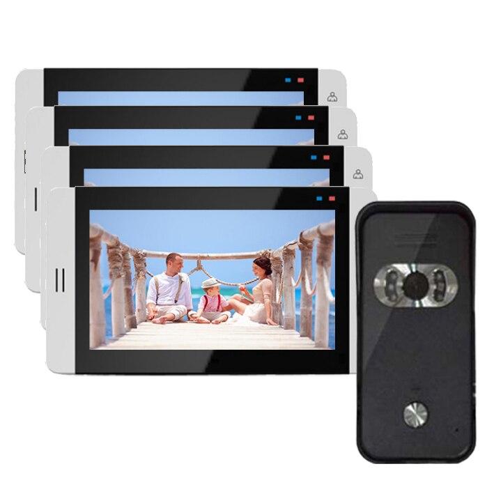 """Система домашнего Интерком охранника """" видео домофон система монитор с функцией записи(опционально) сенсорная кнопка 700TVL ИК камера 1V4 - Цвет: 4X705 V 669HB"""