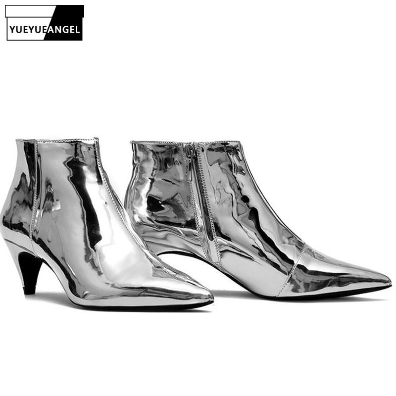 Stílusos női arany méretű cipzáras boka csizma női hegyes lábujj fényes szexi szabadalmi bőr stilettos vastag sarkú cipő szilve