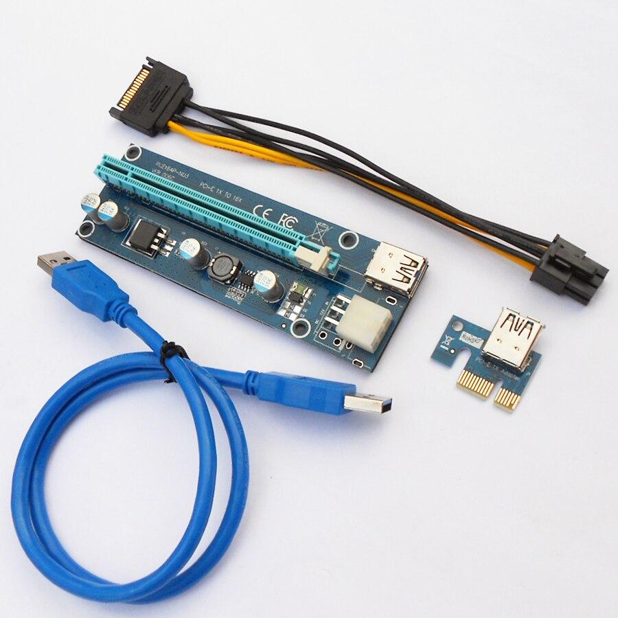 bilder für 100 Sätze/los VER 006C PCI-E Riser Card 1x zu 16x USB 3.0 kabel SATA zu 6Pin Stromkabel für BTC Miner Maschine Kabel Steigleitungen