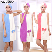 XC USHIO 2017 Fashion Bath Towel Dress With Quick Dry Hair Cap Head Wrap Hat Bathing