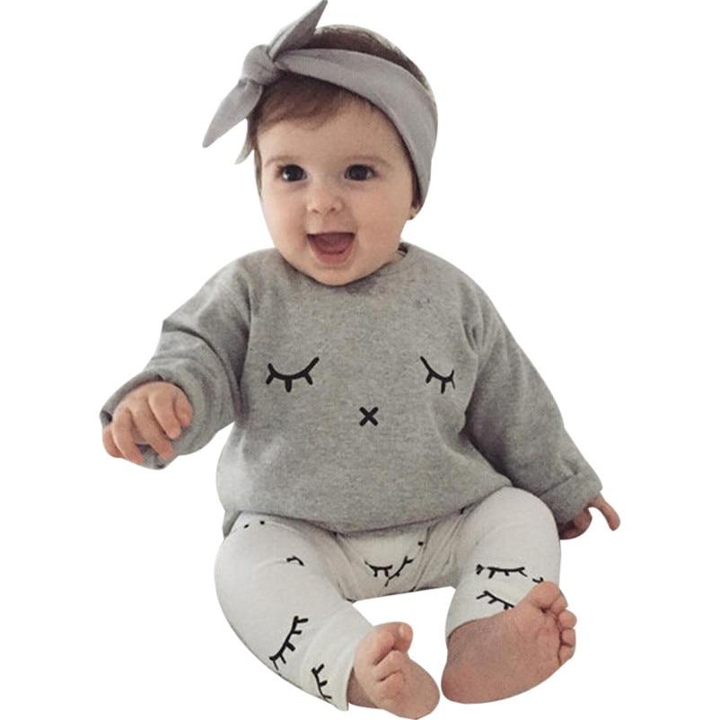 2018 NEW Winter 1Set Infant Baby Boy Girl Cute Eyelash Print T-shirt Tops+Pants Outfits Clothes Children Clothing p5