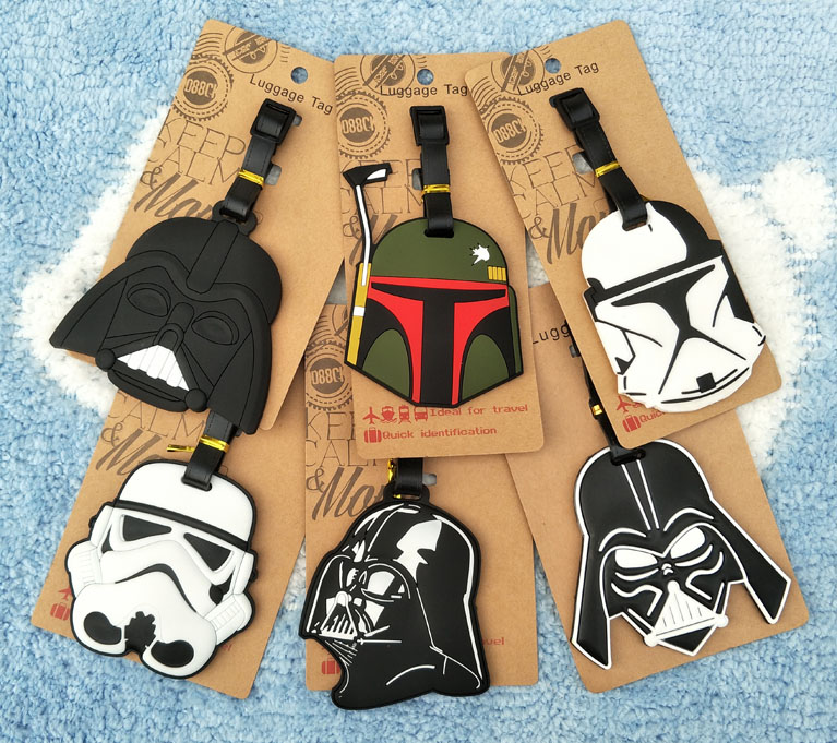Cute Cartoon toy Star Wars Luggage Tags Black Knight Silicon Name ID Travel Suitcase Handbag Tag Accessories Gift