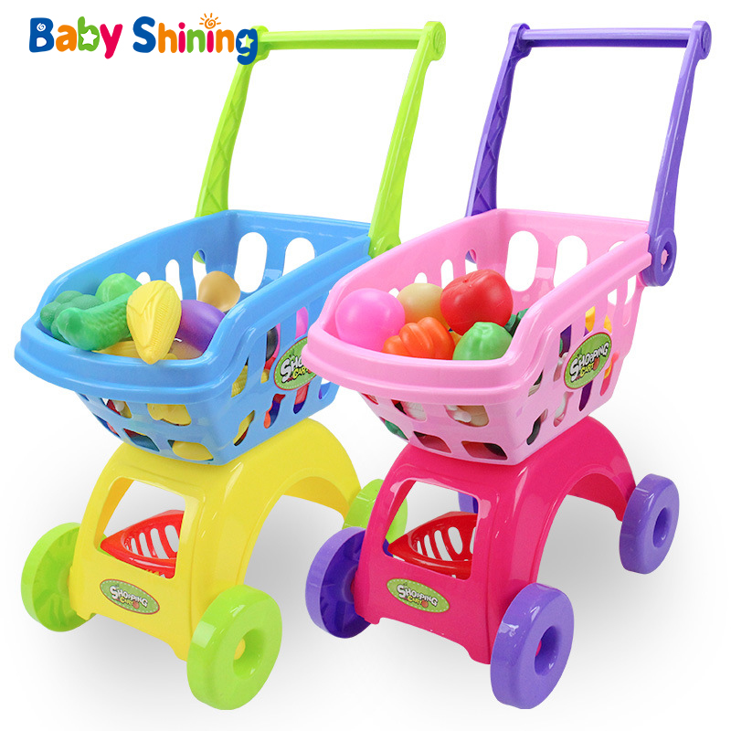 Baby Shining Children Shopping Cart Toy Girls Supermarket Trolley Pedestrian Baby Groceries Toys Toy Set