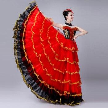 250ae6b87 Hembra rojo largo falda Flamenco español nación traje apertura vestido de  baile rendimiento traje ...