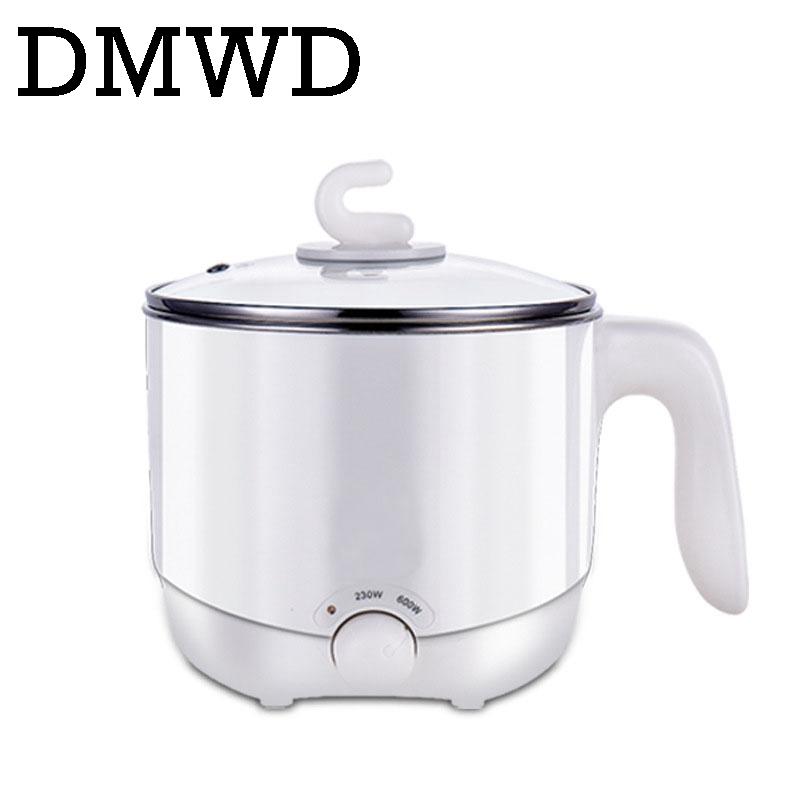 DMWD 110V 220V Multifunction electric Skillet Stainless Steel Hot pot noodles rice Cooker Steamed egg Soup pot MINI heating pan cukyi stainless steel electric slow cooker plug ceramic cooker slow pot porridge pot stew pot saucepan soup 2 5 quart silver