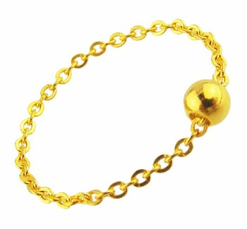Pure 24K Yellow gold Beads Ring Cable Chain Ring 0.48g Luxury