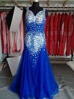Kraliyet Mavi Mermaid Balo Elbise 2018 Sıcak Tasarım Vintage Kristaller Uzun Aç Geri Tül Abiye Lüks Tarzı