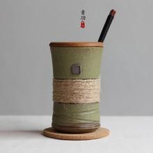 Japanischen stil vintage bands individualität kurze keramische tasse gürtel mit deckel und löffel kaffeetasse geschenk tasse