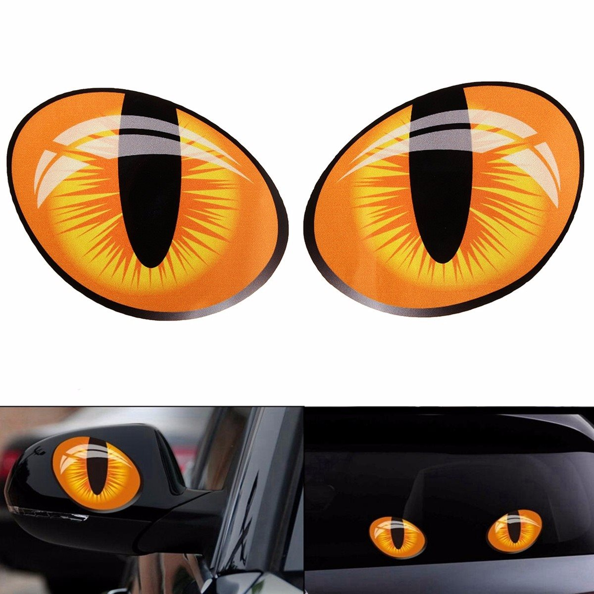 Pair 3D Funny Reflective Cat Eyes Car Stickers Truck Head Engine Rearview Mirror Window Cover Door Decal Graphics 10 x 8cm elegant cat mirror cat bovine anti theft door aw4620c 02 copper luxury carved cat