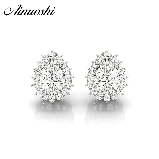 Ainuoshi 925 Sterling Silver Women Engagement Stud Earrings 0 3 Carat Pear Cut Halo Boucles D