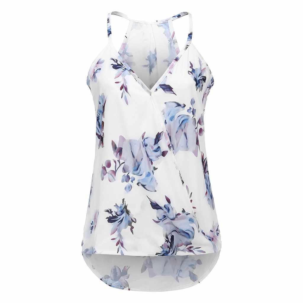 2019 camisola Sexy para mujer con cuello en V con estampado Floral camisetas sin mangas casuales sueltas y blusa S-XXL Chaleco de tiras Zomer MODO DE cleding #20