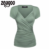 Zeagoo Women Short Sleeve T Shirt Summer Slim TShirt Sexy V Neck Cotton Soft Lady Tshirt