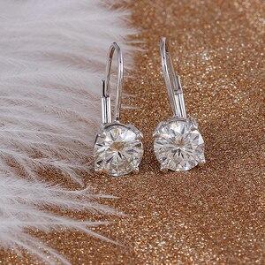 Image 4 - Transgems 14K 585 White Gold 2ct 6.5mm Color Clear Heart Arrows Cut Moissanite Hoop Earring for Women Gold Moissanite Jewelry