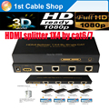 Free shipping 1PCS HDMI Splitter extender 1X4 by cat5e cat6/7 up to 60M 3D&full HD1080p supported 4 hdmi receivers included