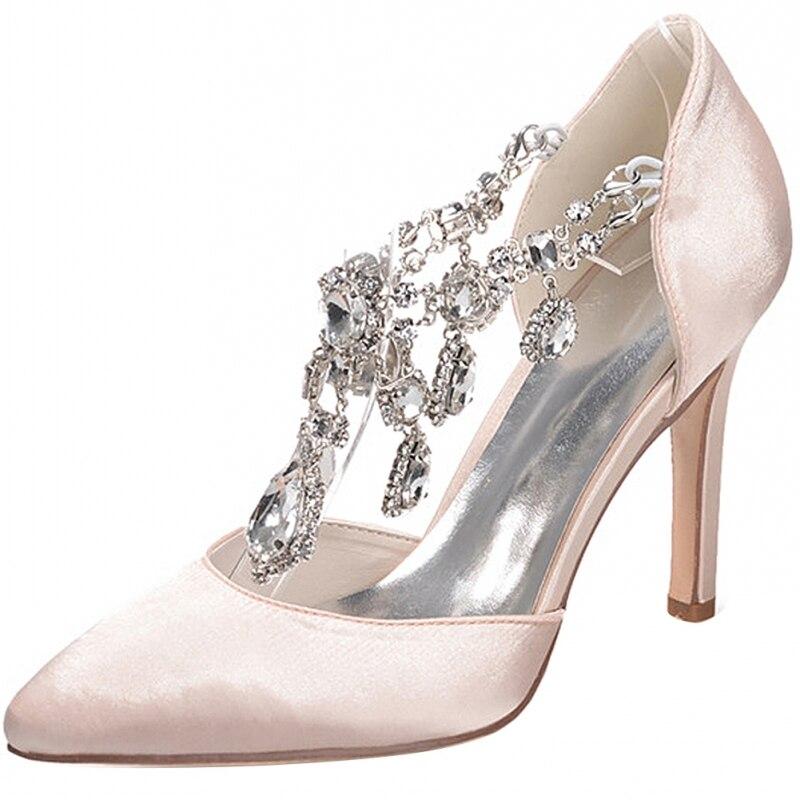 De model white Femmes Mariage Tendance Chaussures Taille Mariée red Haut Stiletto Cristal Femme Printemps Soirée Escarpins Black pink Bout Grande purple Pointu Qualité Talon v0WXHgIq