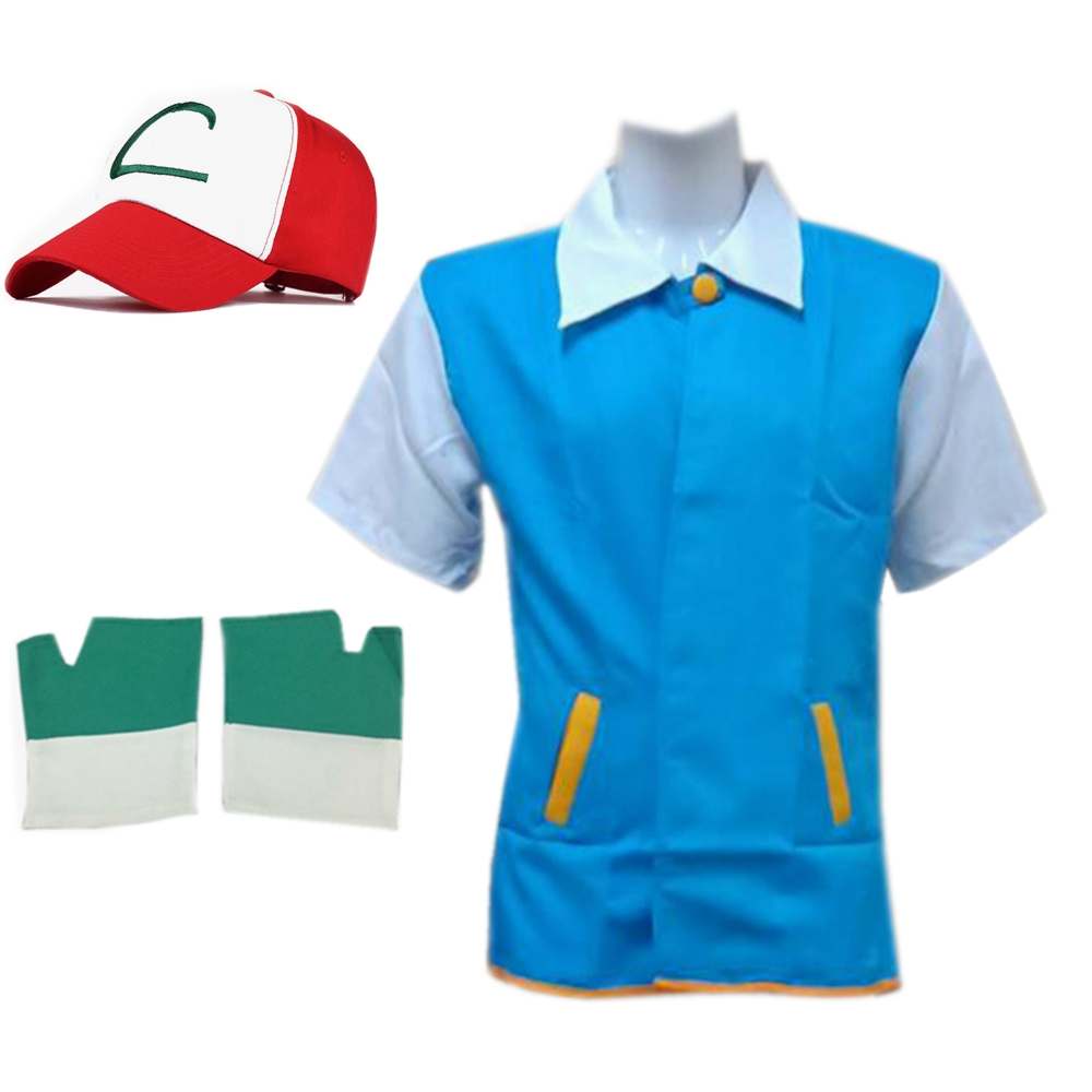 Anime Pokemon Ash Ketchum Trainer Cosplay Costumes Women Men Pocket Monster Jacket Cosplay Blue Jacket + Gloves + Hat