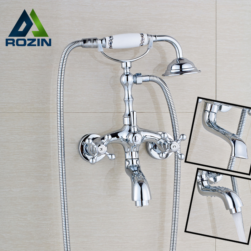 Wholesale and Retail Bathroom Bath Tub Sink Faucet Wall Mounted Rotate Tub Spout Bath and Shower Mixer Taps Chrome Finish wholesale and retail promotion wall mounted bathroom tub faucet spout w hand shower sprayer antique brass shower mixer tap