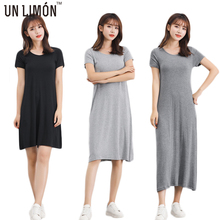 UNLIMON Womens Summer Causal Dress Render Modal cotton Maxi