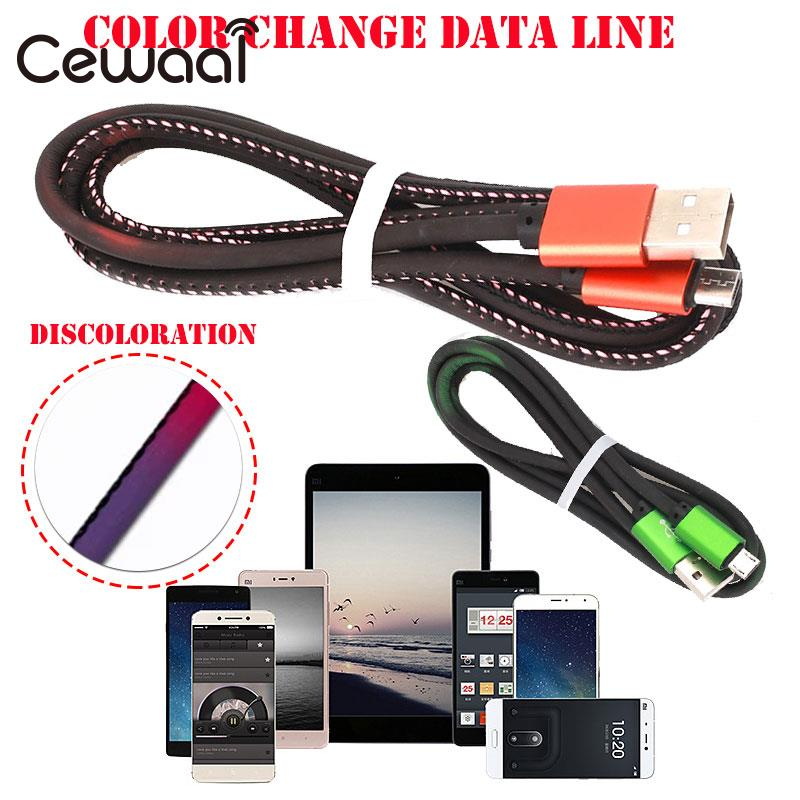Micro USB Cable 1m Data Transfer Durable Data Sync Cable Cell Phone Color Change Charging Cable USB Game
