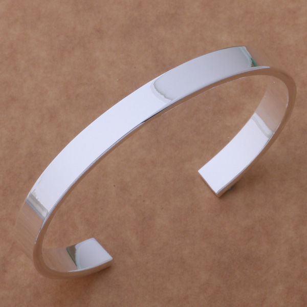AB058 Free Shipping Wholesale silver Bangle 925 fashion silver plated jewelry Smooth bracelet /acvaiuca ajhajaoa thumbnail