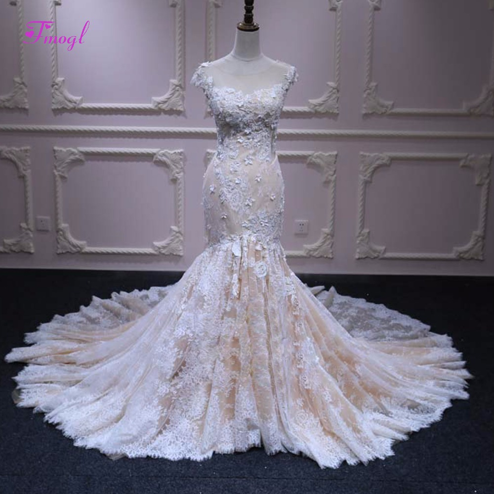 Fmogl Appliques Lace Chapel Train Mermaid Wedding Dress 2020 Fashion Scoop Neck Cap Sleeve Trumpet Bridal Gown Vestido de Noiva