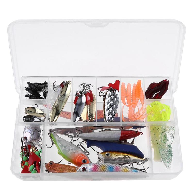 108pcs Multi-function Fishing Lure Kit Professional Bait Artificial Hard Soft Bait Hook Plier Set Fishing Tackle for Fishing 30pcs set fishing lure kit hard spoon metal frog minnow jig head fishing artificial baits tackle accessories