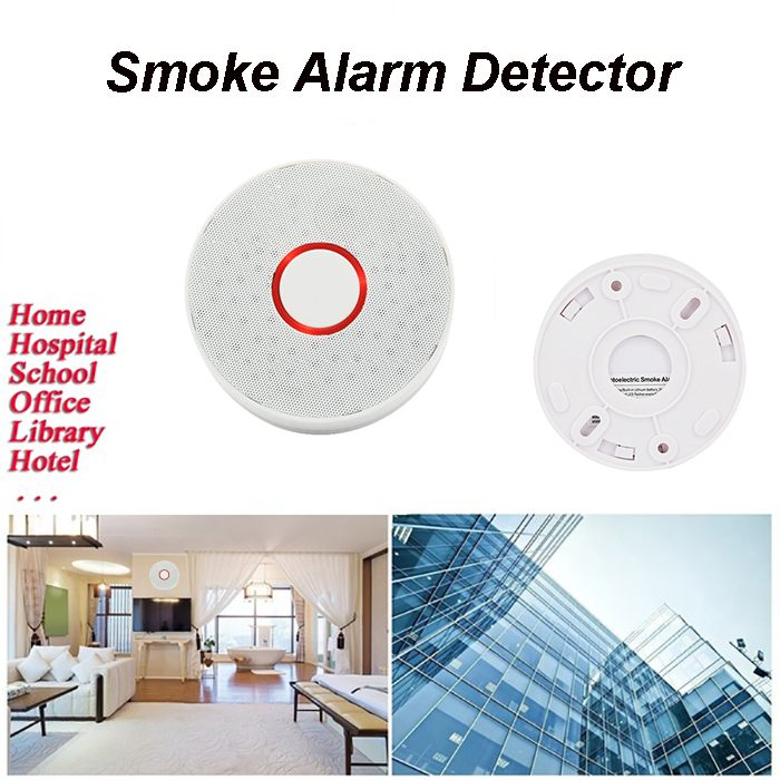 Wireless Smoke Detector Portable Alarm Sensors Security Built-in Lithium Battery Sound & Flash Alarm & LED Alarm Indicator White