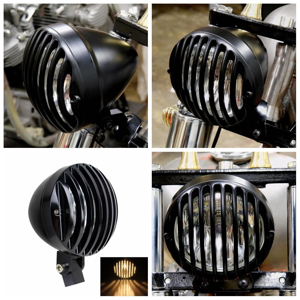 Black Retro Motorcycle Billet Aluminum Headlight Deep Cut Grill Headlamp Universal For Harley Chopper Cruiser Cafe Racer
