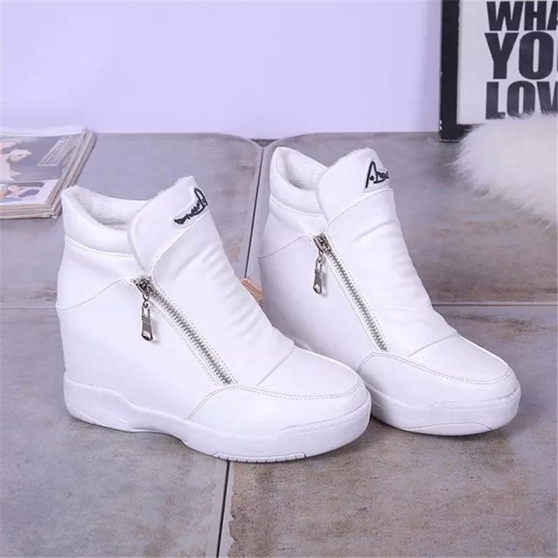 Winter Fur Sneakers Platform Woman High Top Wedge Sneakers 2019 Spring Autumn Female Casual Shoes Side Zipper Warm Snow Sneakers in Women 39 s Vulcanize Shoes from Shoes