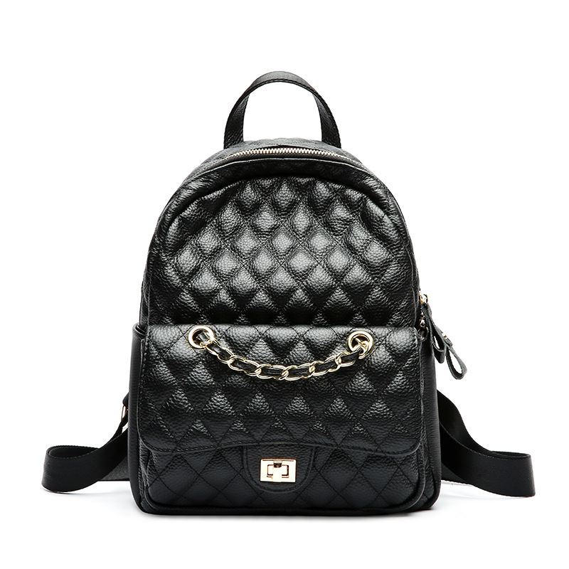 Luxury Classical Black Chains Backpack Women Genuine Cowhide Leather Diamond Lattice Lady Bagpack Girl School Bag