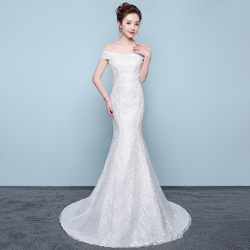Elegant White Mermaid Wedding Dresses Embroidery Off The Shoulder Boat Neck Formal Bride Dresses With Sweep Train Robe De Mariee