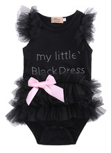 2016 New Baby Girls Clothes Infant Girls Lace Bodysuit 3-18M Kids Clothes Summer Sleeveless Bow Princess Babies Bodysuits Black(China)