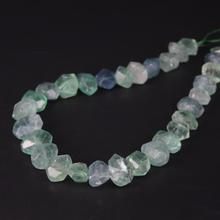 15.5/strand Fluorite Quartz Faceted Nugget Loose Beads,Cut Natural Green Crystal Stone Pendants Charms Jewelry Making